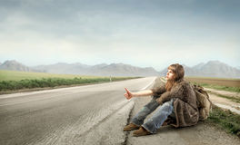 Hitch-hiking Royalty Free Stock Photos
