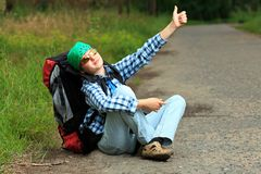 Hitch-hiking Royalty Free Stock Photo
