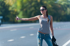 Hitch-hiking Stock Photo