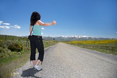 Hitch-hiking at Gredos rural road Stock Photo