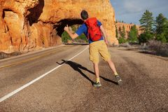 Hitch-hiking man with rucksack near Red canyon Royalty Free Stock Images