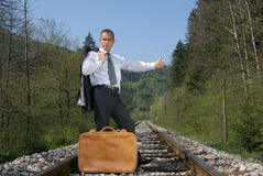 Hitch-hiking a train Stock Photo