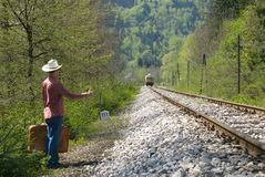 Hitch-hiking a train Stock Image