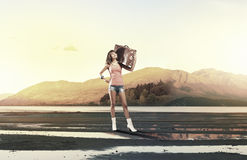 Hitch hiking traveling Royalty Free Stock Photo