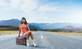 Hitch hiking traveling Stock Photos