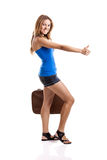 Hitch hiking woman Royalty Free Stock Image