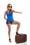 Hitch hiking woman Royalty Free Stock Images