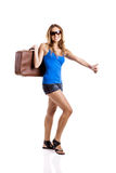 Hitch hiking woman Stock Photos