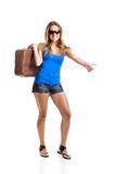 Hitch hiking woman Royalty Free Stock Photo