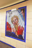 Hitchcock Murals in London. Mural from Hitchcock movie Psycho is one of 17 mosaics,on display in the entrance corridors of Leytonstone tube station in London Stock Photos