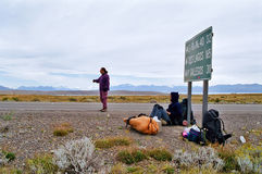 Hitchhicking in Patagonia Argentina, Chile Royalty Free Stock Photography