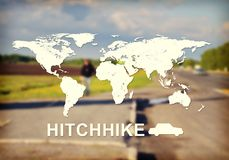 Hitchhike header. Contoured map of world continents with inscription Hitchhike and related symbol. Blurred photo of forked road with cars, trees and person by Stock Photos