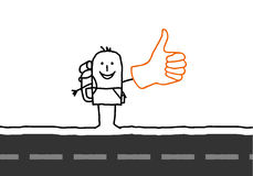 Hitchhiker. Hand drawn cartoon character Stock Images