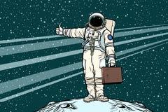 Hitchhiker astronaut with travel suitcase. Pop art retro vector illustration Stock Photos