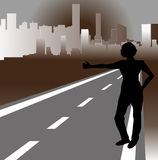 Hitchhiker and city Royalty Free Stock Images