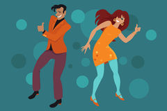 The Hitchhiker Dance. Young couple dressed in retro style clothes doing the Hitch Hike dance, EPS 8 vector illustration Stock Photography