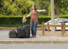 Hitchhiker, going on holiday Royalty Free Stock Image