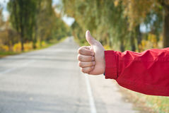 Hitchhiker sign Stock Images