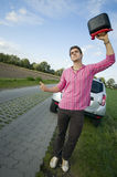 Hitchhiker slanting Stock Image