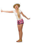 The hitchhiker woman in pink plaid shorts  on white Royalty Free Stock Photos