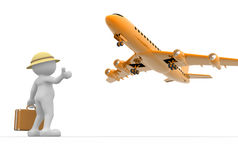 Hitchhiking. 3d people - man, person  and a airplane. Concept of travel. Hitchhiking Stock Photo