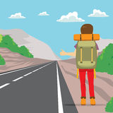 Hitchhiking Back Man. Back view of man doing hitchhiking standing on road side Stock Images