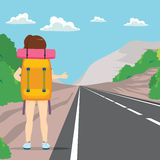 Hitchhiking Back Woman. Back view of woman hitchhiking with big backpack standing on road side Stock Images