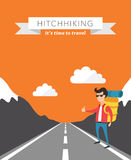 Hitchhiking flat vector background Royalty Free Stock Photos
