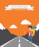 Hitchhiking flat vector background. On orange background Royalty Free Stock Photos