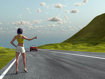 Hitchhiking girl on a road. Hitchhiking woman on a road Stock Image