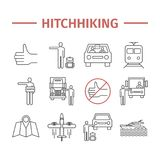 Hitchhiking line icons set. Hitchhiker. Vector travel sign. Hitchhiking line icons set. Vector travel sign Royalty Free Stock Image
