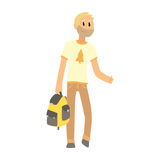 Hitchhiking man with bag trying to stop a car on a highway, travelling  Royalty Free Stock Photography