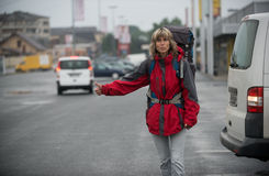 Hitchhiking  - means of transportation Royalty Free Stock Photo