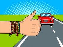 Hitchhiking pop art vector illustration. Hitchhiking pop art retro vector illustration. Comic book style imitation Stock Photo