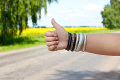 Hitchhiking the road Stock Photography