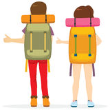 Hitchhiking Tourism Back. Couple hitchhiking tourism concept traveling with big bag backpack Stock Photo