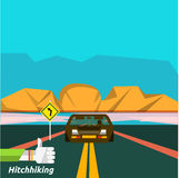 Hitchhiking tourism. Icons of traveling, planning a summer vacation in flat design. Business travel concept Stock Photo