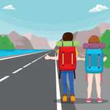 Hitchhiking Travel Couple. Back view illustration of young couple with bag on a travel hitchhiking Stock Images