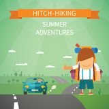 Hitchhiking vector concept Royalty Free Stock Photo