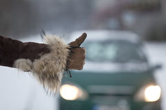 Hitchhiking in winter Stock Photography