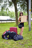 Hitchhiking woman Stock Photos