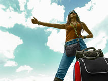 Hitchhiking Woman royalty free stock photos