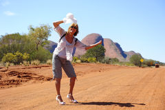 Hitchhiking Woman in Outback royalty free stock image