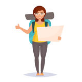 Hitchhiking. Woman traveler. With backpack. Isolated art on white background. Vector. Cartoon. Flat Royalty Free Stock Images