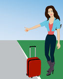 Hitchhiking. Young woman with suitcase hitchhiking on roadside. Hitchhiking woman trying to stop a car on a highway. Woman catching taxi car. Vector Stock Photography