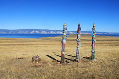 Hitching post on Olkhon Island, Siberia, Russia Royalty Free Stock Photos