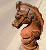 Hitching stolpe för gjutjärnhäst i New Orleans Arkivfoton
