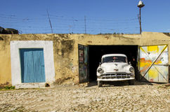 Hite American car in Trinidad, Cuba Royalty Free Stock Photography