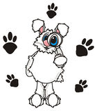 Hite bunny with a magnifying glass and footprints Stock Photo