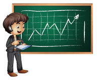 A hitech businessman in front of the blackboard. Illustration of a hitech businessman in front of the blackboard on a white background Royalty Free Stock Images